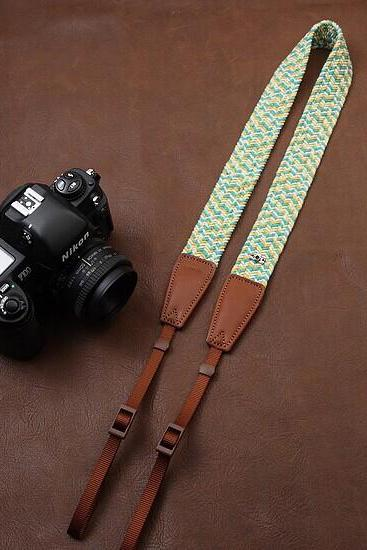 Blue yellow Plait New National wind bohemian comfortable camera strap Neck Strap elastic carrying a classic for canon nikon sony