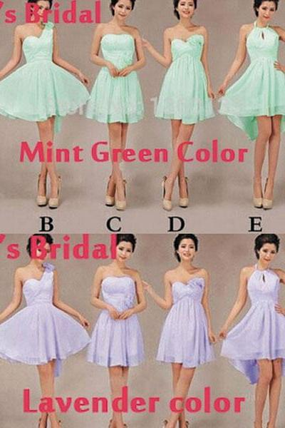 Mint Green Junior Bridesmaid Dresses, Purple Bridesmaid Dresses, Lavender Bridesmaid Dress, Short Bridesmaid Dress, Chiffon Bridesmaid Dress, Wedding Party Dresses, Custom Bridesmaid Dresses, Bridesmaid Dresses 2016