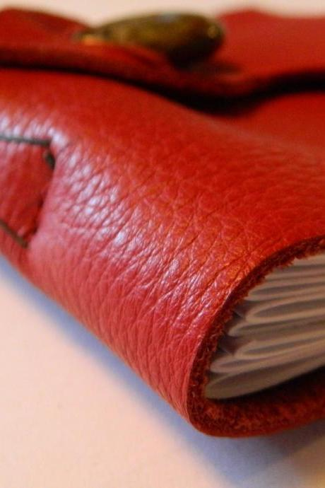 Handmade Red Leather Journal with Jasper Button and Leaf Closure