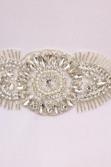 Upscale Shiny Crystal Rhinestone Pearl Czech Stones Formal Wedding Dress Belt New Arrival Handmade Stunning Bridal Sash