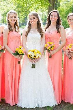 A Line Empire Waist Coral Chiffon Long Bridesmaid Dresses, Floor Lenght Sweetheart Ruffles Maternity Bridesmaid Dress,Cheap Simple Prom Graduation Dress Gowns