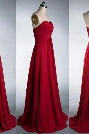Elegant A Line Floor Length Burgundy Chiffon Bridesmaid Dresses,Sweetheart Dark Red Long Bridesmaid Dress,Cheap Graduation Dress Evening Prom Dress