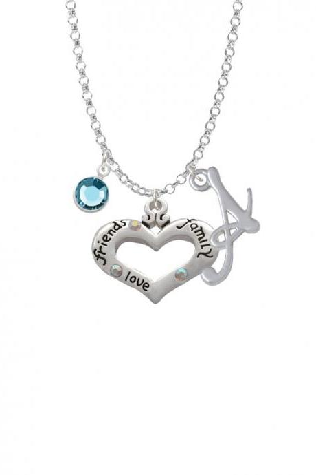 Heart with 3 AB Crystals - Friends Family Love Charm Necklace with Gelato Initial and Crystal Drop NC-Channel-C2712-SmGelato-F2301
