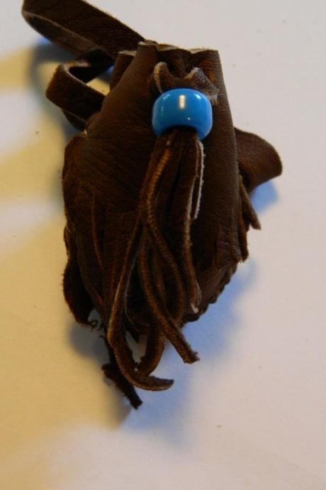 Tiny Rustic Leather Pouch with Fringe