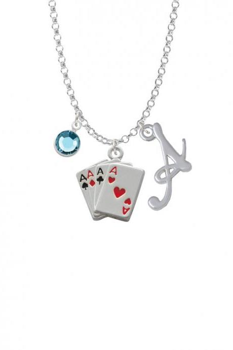 Aces Card Hand Charm Necklace with Gelato Initial and Crystal Drop NC-Channel-C1253-SmGelato-F2301