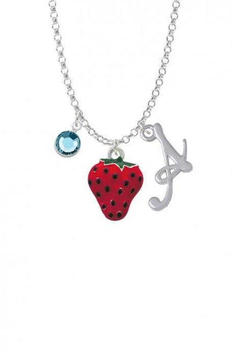 Large Enamel Strawberry Charm Necklace with Gelato Initial and Crystal Drop NC-Channel-C1258-SmGelato-F2301