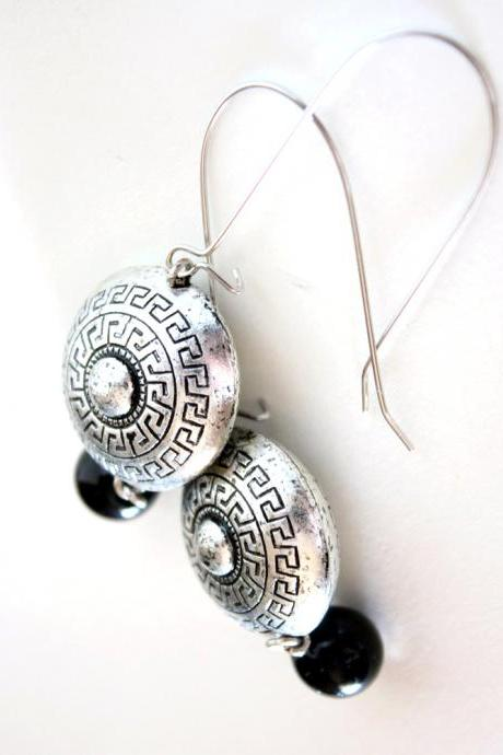 history - silver and black earrings - modern with classic inspiration