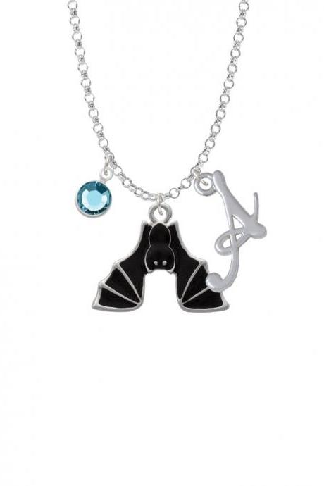 Hanging Bat Charm Necklace with Gelato Initial and Crystal Drop NC-Channel-C1792-SmGelato-F2301