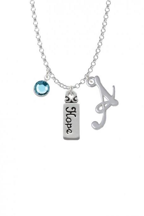 Hope Charm Necklace with Gelato Initial and Crystal Drop NC-Channel-C2000-SmGelato-F2301