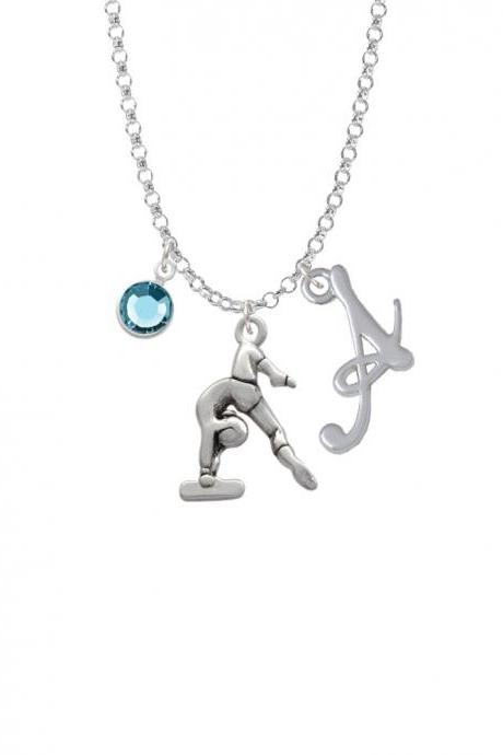 Gymnast Balance Beam Charm Necklace with Gelato Initial and Crystal Drop NC-Channel-C2093-SmGelato-F2301