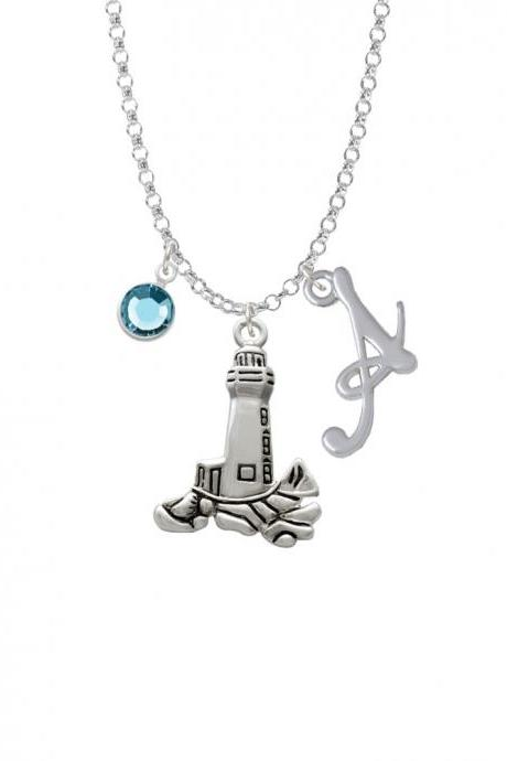 Antiqued Lighthouse Charm Necklace with Gelato Initial and Crystal Drop NC-Channel-C2483-SmGelato-F2301