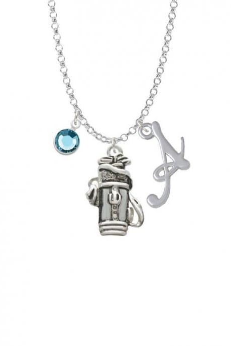 Golf Club Bag Charm Necklace with Gelato Initial and Crystal Drop NC-Channel-C2497-SmGelato-F2301