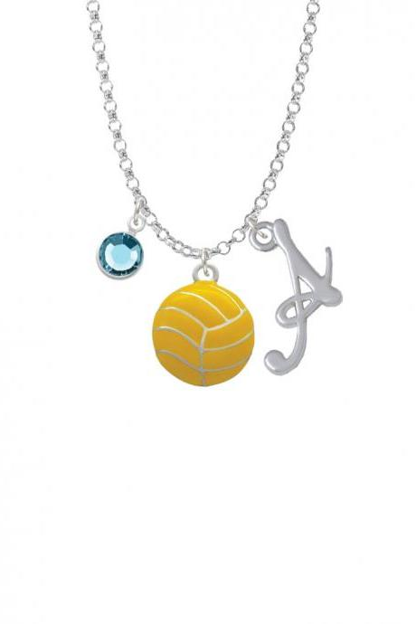 Large Water Polo Ball Charm Necklace with Gelato Initial and Crystal Drop NC-Channel-C2766-SmGelato-F2301