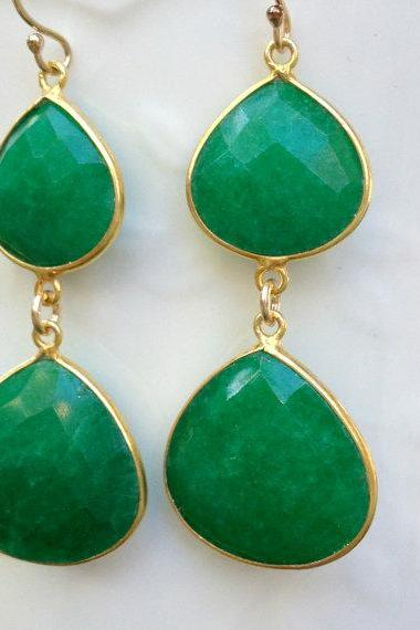 Green Sapphire Earrings, Luxury Gemstone Earrings, Celebrity Earrings, Fashion, Anniversary Gift, Christmas Gift, For Wife, Girlfriend,