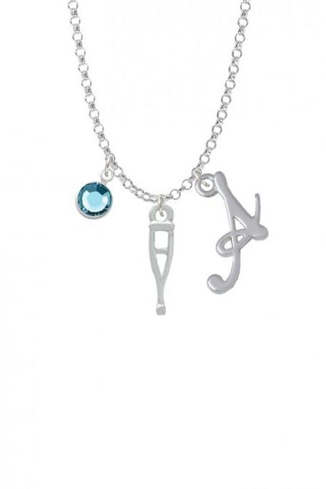 Crutch Charm Necklace with Gelato Initial and Crystal Drop NC-Channel-C3566-SmGelato-F2301