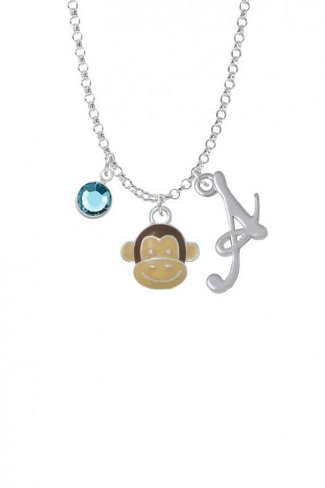 Enamel Monkey Face Charm Necklace with Gelato Initial and Crystal Drop NC-Channel-C4616-SmGelato-F2301