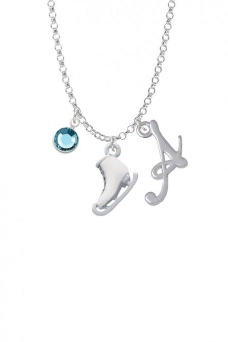 3-D White Ice Skate Charm Necklace with Gelato Initial and Crystal Drop NC-Channel-C4714-SmGelato-F2301