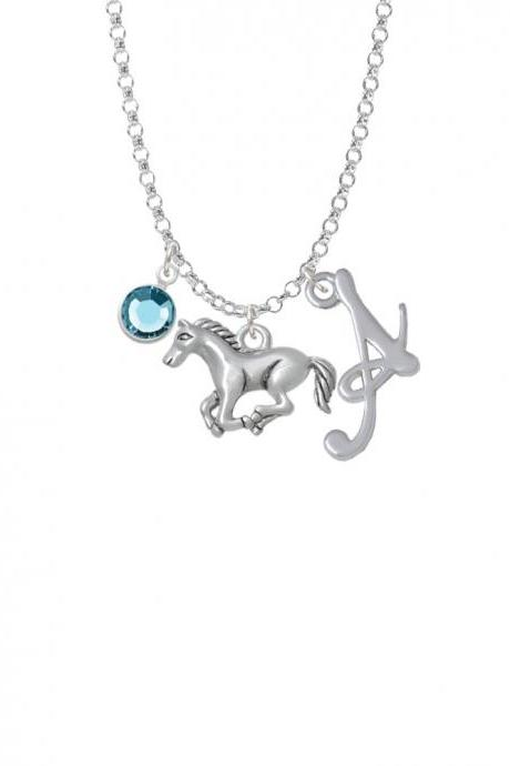 Running Horse - 2 Sided Charm Necklace with Gelato Initial and Crystal Drop NC-Channel-C4830-SmGelato-F2301