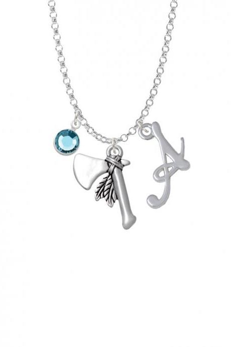 Tomahawk with Feathers Charm Necklace with Gelato Initial and Crystal Drop NC-Channel-C4869-SmGelato-F2301