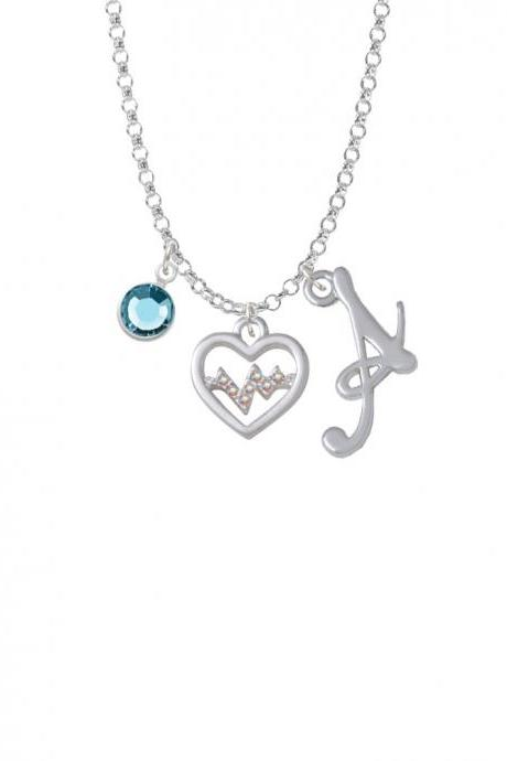 Heart with AB Crystal Heartbeat Charm Necklace with Gelato Initial and Crystal Drop NC-Channel-C5453-SmGelato-F2301