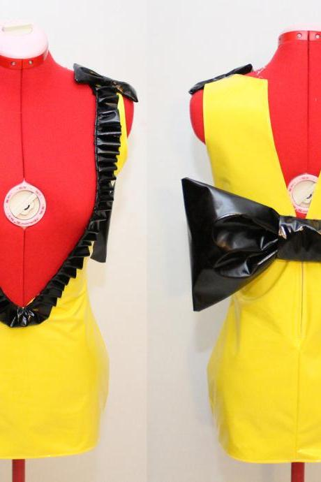 Super Mini Yellow Deep V Stretch PVC Dress with Black Pleather Ruffles and Bows