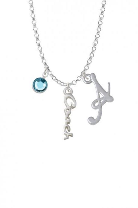 Small Coach Script Charm Necklace with Gelato Initial and Crystal Drop NC-Channel-C5875-SmGelato-F2301