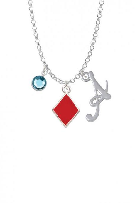 Card Suit - Red Diamond Charm Necklace with Gelato Initial and Crystal Drop NC-Channel-C5953-SmGelato-F2301