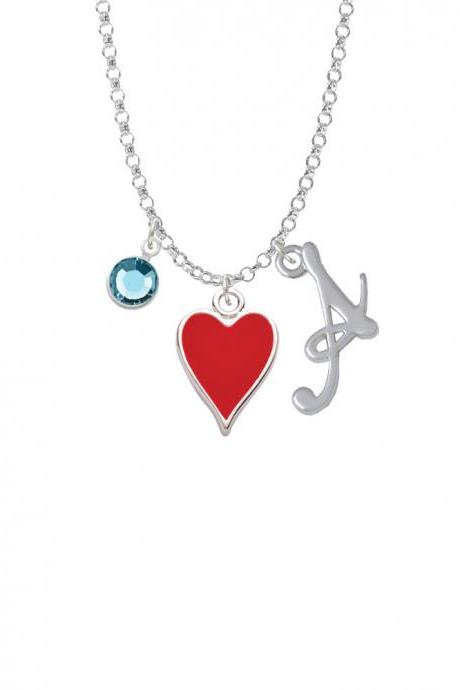Card Suit - Red Heart Charm Necklace with Gelato Initial and Crystal Drop NC-Channel-C5954-SmGelato-F2301