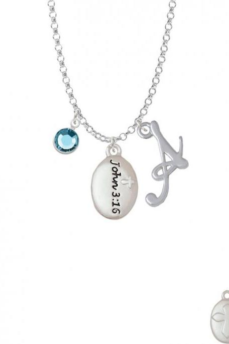 Bible Verse John 3:16 Charm Necklace with Gelato Initial and Crystal Drop NC-Channel-C5964-SmGelato-F2301
