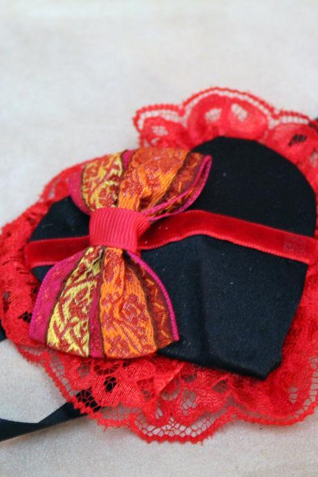 Black Satin Heart Eye Patch with Red Lace and Ribbon Bow and Black Ribbon Ties