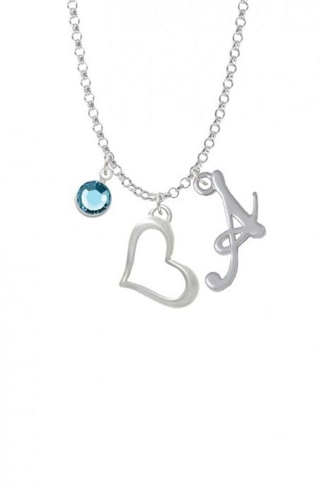 Slanted Open Heart Charm Necklace with Gelato Initial and Crystal Drop NC-Channel-CT1043-SmGelato-F2301