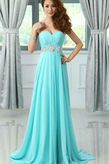 Pretty Light Blue Chiffon Sweetheart Beadings Prom Dresses 2016, Blue Prom Dresses, Prom Gowns, Evening Dresses
