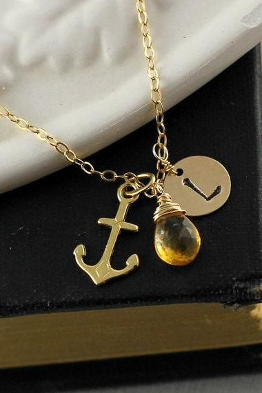 Personalized Anchor Necklace, Initial, Birthstone, Gold Anchor Necklace, Bridesmaid Gift, Birthday Gift, November Birthstone Citrine, Mother