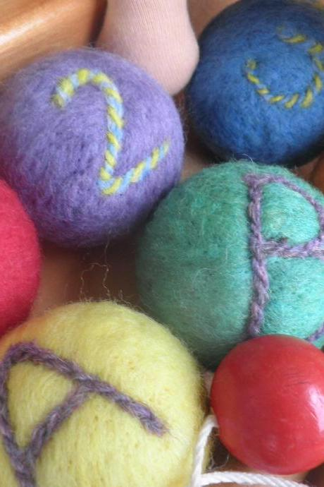 Sensory Toy, set of 6. Felted Wool Balls filled with organic lavender. Vibrant. Texture. Waldorf Inspired. Storage Bag Included.