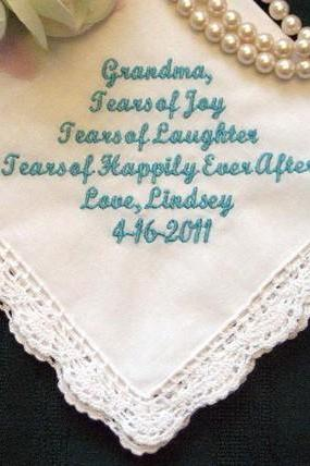 Personalized Wedding Handkerchief for your Grandmother 96S