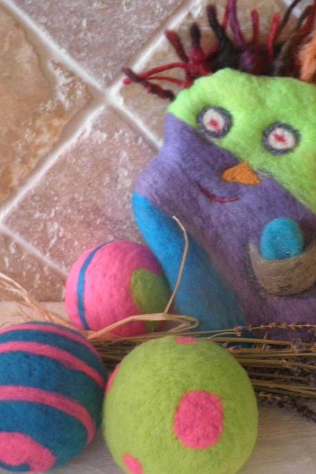 Felted Wool Buddy. Wool Monster Friend. Lavender filled toy. Eco friendly and natural child toy. Unique gift. OOAK. Travel sized toy