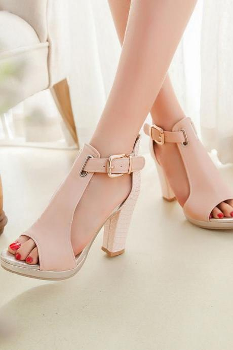 Peep-toe Buckle T-strap Embossed Heels