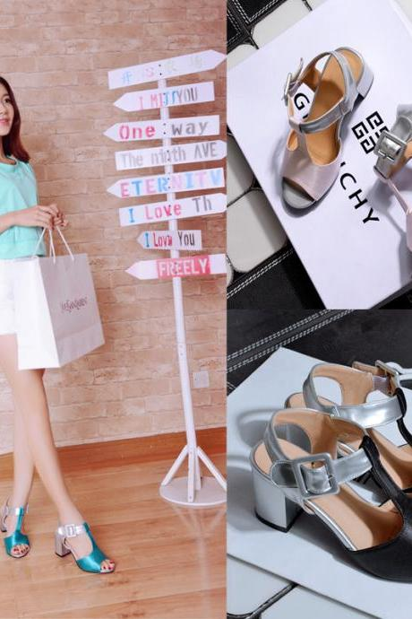T-strap mix color square high heel sandals, women sandals Marriage, high summer sandals, platform sandals, open toe shoes