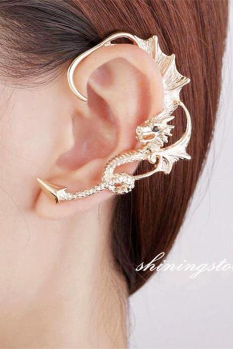 Dragon ear cuff , Dragon earring, Dragon jewelry - Game of thrones ear cuff - Silver , 14k gold plated, Rose gold plated