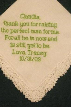 Personalized Wedding Gift - Wedding Handkerchief for Mother of the Groom with Gift Box 81B
