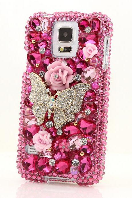 Bling Crystals Phone Case for iPhone 6 / 6s, iPhone 6 / 6s PLUS, iPhone 4, 5, 5S, 5C, Samsung Note 2, Note 3, Note 4, Galaxy S3, S4, S5, S6, S6 Edge, HTC ONE M9 (FUCHSIA BUTTERFLY DESIGN) By LuxAddiction