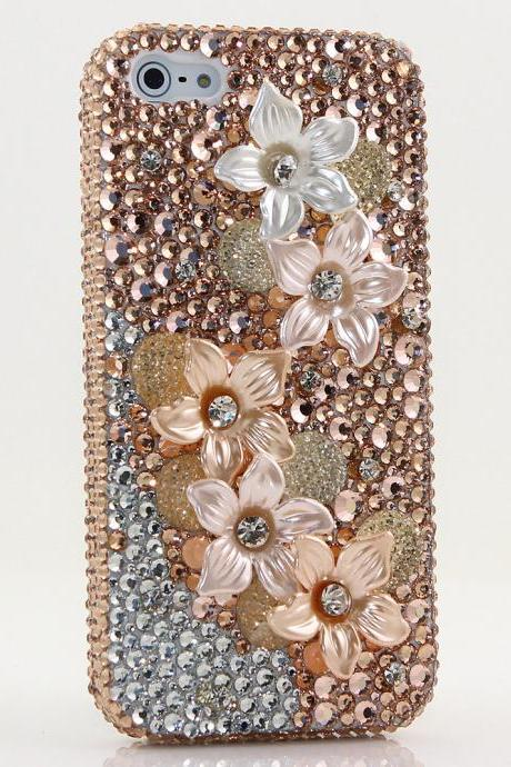 Bling Crystals Phone Case for iPhone 6 / 6s, iPhone 6 / 6s PLUS, iPhone 4, 5, 5S, 5C, Samsung Note 2, Note 3, Note 4, Galaxy S3, S4, S5, S6, S6 Edge, HTC ONE M9 (GOLDEN POSIES DESIGN) By LuxAddiction