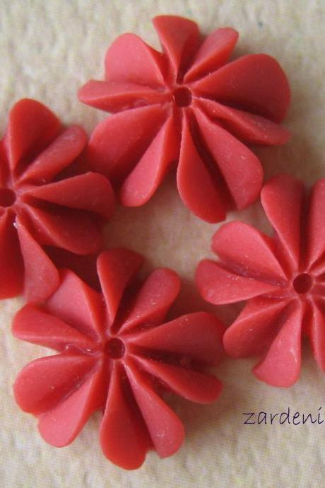 4PCS - Mini Coral Cabochons - Resin - Watermelon Red - 10mm - Findings by ZARDENIA