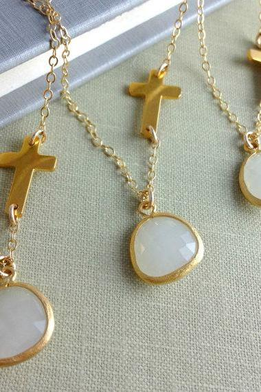 Set Of 4 Personalized sideways Cross Necklaces, Bridesmaids Gift, Best Friends Necklace, Wedding, Celebrity Necklace, Unique Bridesmaid Gift