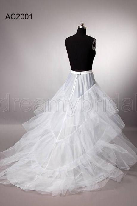 High Quality White Train Wedding Dresses,Petticoat Underskirt Crinoline 3-Layers Bridal Accessories For Sale