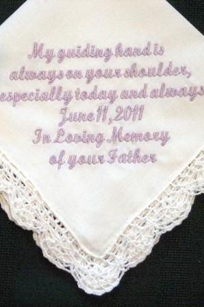 Personalized wedding gift-wedding handkerchief in fathers memory with Gift Box 45S