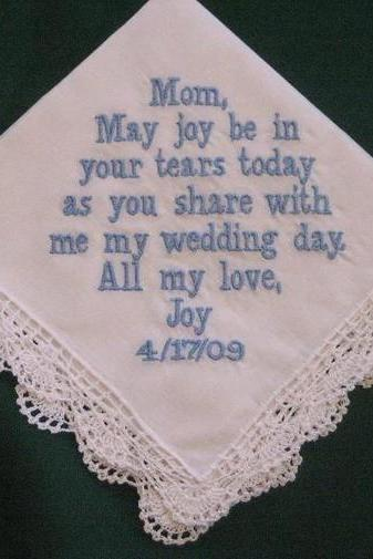 Personalized Wedding Gift - Wedding Handkerchief for Mother of the Bride with Gift Box 43B