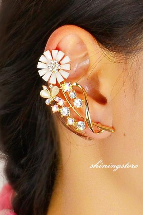Sun Flower Ear Cuff , Gold ear cuff , Rhinestone ear cuff , Bohemain ear cuff - Right ear