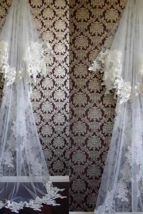 Two Layers Wedding Veils, Lace Edge Bridal Veils, Appliques Wedding Veils, Court Length Wedding Veils, Tulle Wedding Veils, Cheap Wedding Veils