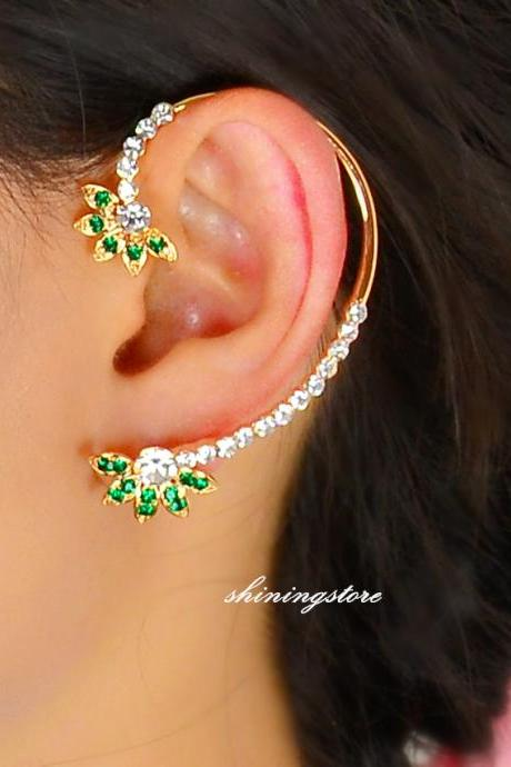 Leaf ear cuff rhinestone earring with14k gold plated, Elf ear cuff, Boho ear cuff , Rhinestone earring, Party earring, Performance jewelry,